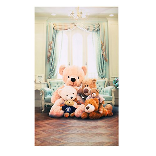 ULKEME Cute Teddy Vinyl Photo Studio Backdrop Bear Background 3x5ft Indoor Baby (Cute Teddy Pictures)