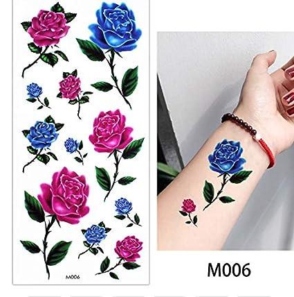 Tatuajes Temporales Niños Unicornio Pintura De Tinta Flor De Rosa ...