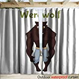 warmfamily Porch Curtains Scary Werewolf Halloween Costume idea Outdoor Curtain W120 x L84
