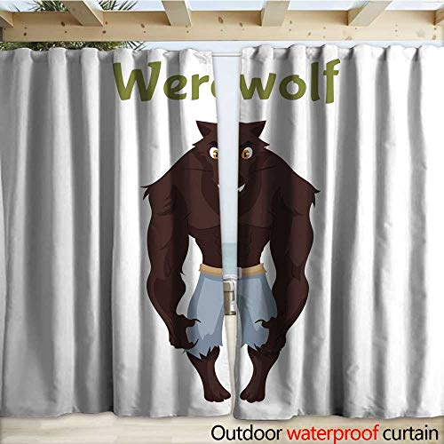 warmfamily Porch Curtains Scary Werewolf Halloween Costume idea Outdoor Curtain W120 x L84 -