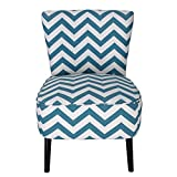ELEGAN Eruo Cute Taffy Strip Style Fabric Armless Accent Side Chair for Living Dining Room with Wood Legs
