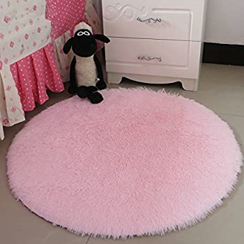 This Item Hoomy High Pile Fluffy Rugs Round Light Pink Floor Mat For Girls  Room Soft Shaggy Door Mats Modern New Rug 35 Inch