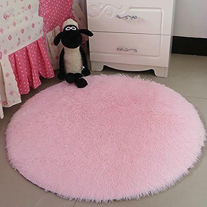 Amazon.com: Hoomy High-pile Fluffy Rugs Round Light Pink Floor Mat ...