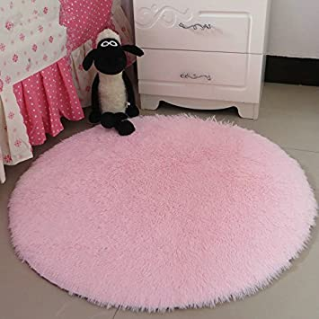 Hoomy High Pile Fluffy Rugs Round Light Pink Floor Mat For Girls Room Soft  Shaggy