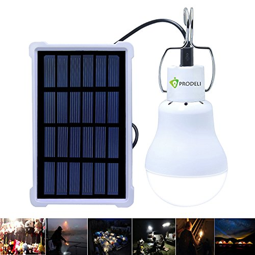 Solar Bulb, PRODELI LED Lantern Tent Light Bulb for Camping Hiking Fishing Solar Panel Powered Emergency Light S-1500 150LM 1600mA