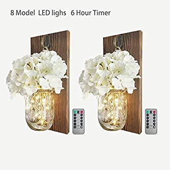2 Pack Mason Jar Sconce Wall Decor With 8 Functions Remote, Hanging Decorative Jars with 6-Hour Timer 30 Led Fairy Lights, Rustic Wall Sconce With Dark Wood , White Silk Hydrangea for Home Farmhouse