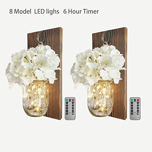 Standard Wood Sconce (2 Pack Mason Jar Sconce Wall Decor With 8 Functions Remote, Hanging Decorative Jars with 6-Hour Timer 30 Led Fairy Lights, Rustic Wall Sconce With Dark Wood , White Silk Hydrangea for Home Farmhouse)
