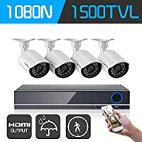 IHOMEGUARD 1080N Video Security System 4 Channel HDMI DVR Surveillance Kit CCTV with 4 1500TVL Outdoor Weatherproof Camera Support Mobile Remote Access, Night Vision, Motion Detection, No Hard Drive
