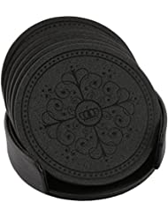 HappyDavid Leather Round Placemats Cup Mat