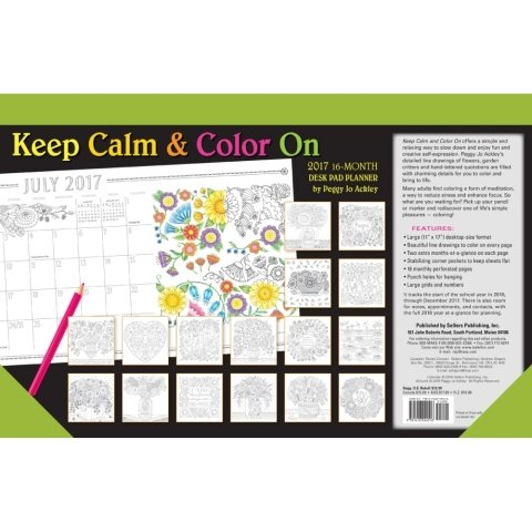 2017 Keep Calm & Color Desk Pad - 17 x 11 inches