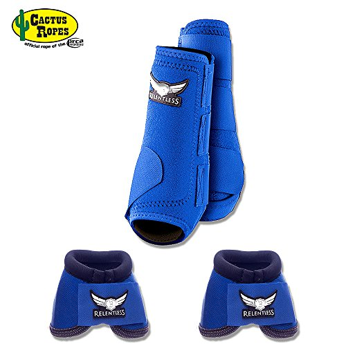 Fit Fetlock Boots - CACTUS ROPES MEDIUM BLUE RELENTLESS TREVOR BRAZILE HORSE 2 FRONT LEG SPORT 2 BELL BOOT SET