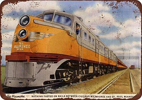 NOAH KAUR Metal Tin Sign Aluminum 1948 Milwaukee Road Hiawatha Train Vintage Metal Sign 7.8 X 11.8 Inch