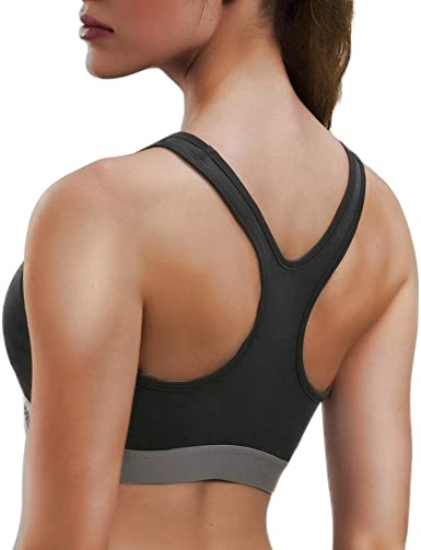 Women Racerback High Impact Workout Tank Sports Bra Running Yoga Gym Activewear