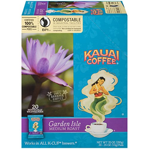 Kauai Coffee Unique-serve Pods, Garden Isle Medium Roast – 100% Premium Arabica Coffee from Hawaii's Largest Coffee Grower, Keurig-Compatible Cups - 20 Consider (Pack of 1)