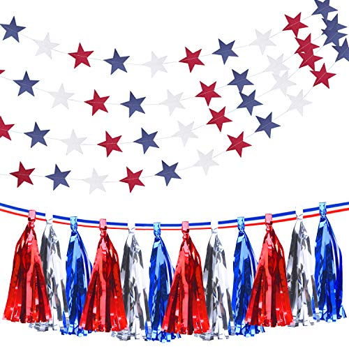 (Livder 20 Pieces Metallic Tassels with Ribbon, Star Streamers Hanging Banner for 4th of July National Day and Election Patriotic Party Decorations)