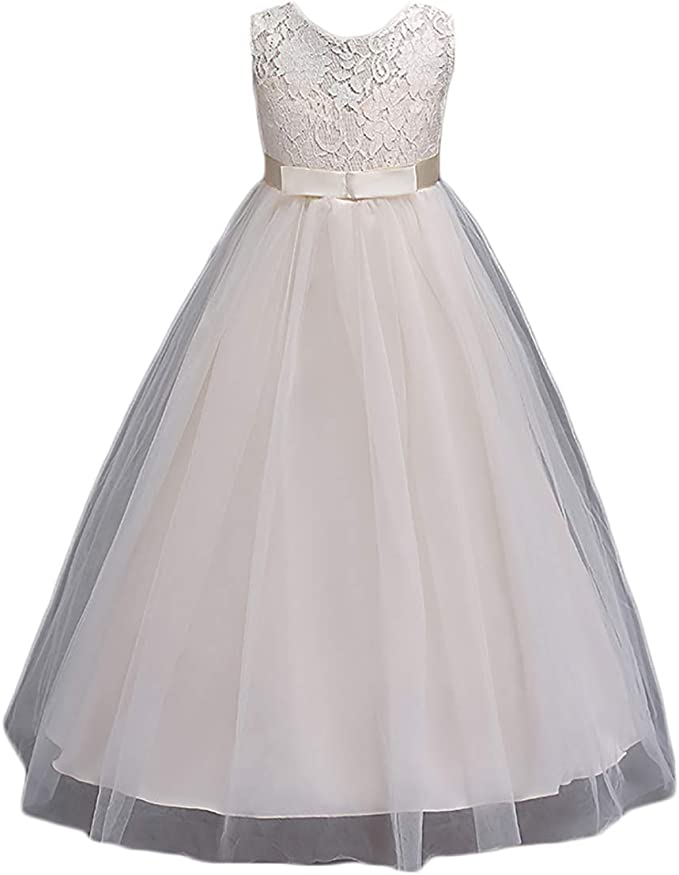 AliceHouse Flower Girls Princess Pageant Ball Gowns Kids Lace Wedding Party Dress Long GD004