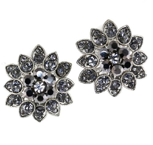 Aurora Borealis Austrian Crystal Flower Clip-on Earrings - Hematite and (Aurora Borealis Austrian Crystal)