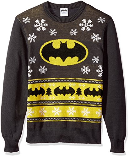 DC Comics Batman Men's Batman Bat Signal Ugly Christmas Sweater, Charcoal, Small -