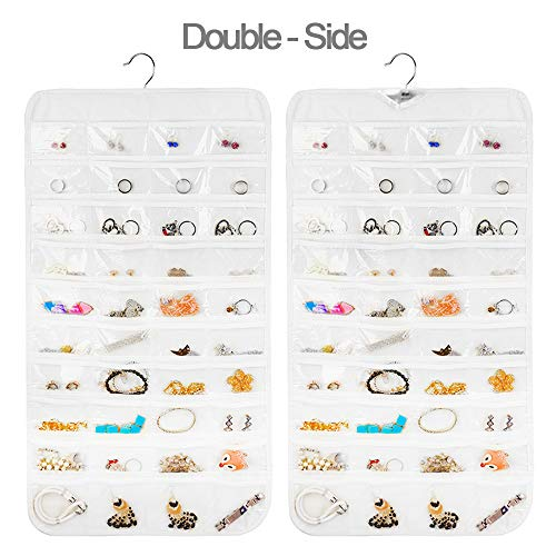 Earring Organizer, Dual-Sided 80-Pocket Hanging Jewelry Organizer Storage Displace Necklace Earring Ring Pouch Pocket, Accessories Organizer Closet Wall Holder, Transparent, White, Hanger Included (Closet Organizer Tool Design Online)