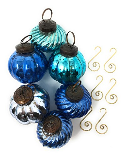 Blue Mercury Christmas Tree Ornaments - 6 Beautiful Glass Balls -Teal, Aqua & Blue in 3 different shapes 2