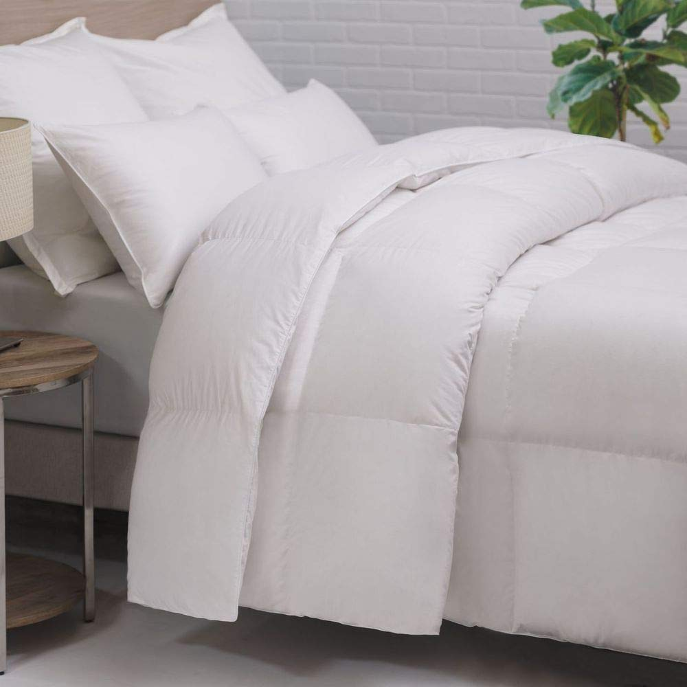HOMFY Premium Cotton Comforter Queen,Quilted Comforter with Corner Tabs, Soft and Breathable (White, Queen) by HOMFY (Image #1)