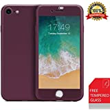 iPhone 7 Case/iPhone 8 Case,360 Full Body Protection Anti-Scratch Resistant with Tempered Glass Screen Protector for iPhone 7 (2016)/iPhone 8 (2017) (purple)