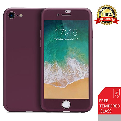iPhone 7 Case/iPhone 8 Case,360 Full Body Protection Anti-Scratch Resistant with Tempered Glass Screen Protector for iPhone 7 (2016) / iPhone 8 (2017) (Purple)
