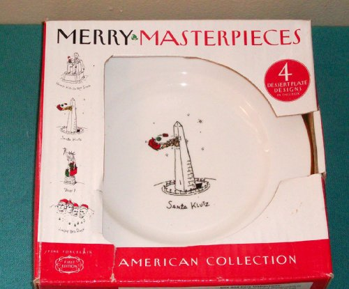 1999 Dayton Hudson Merry Masterpiece American Collection First Edition 24K Gold Trim Fine Porcelain Plates DESSERT SNACK BREAD PLATES
