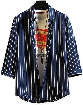 メンズ シャツ 7分袖 薄手 カジュアルシャツ ストライプ柄 大きいサイズ トップス 春 夏 秋 オシャレ