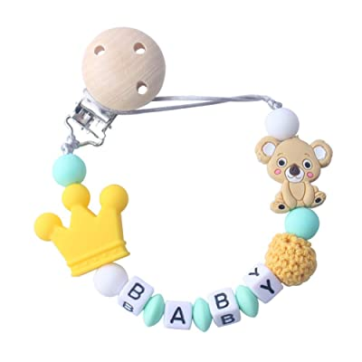 prettDliJUN Koala Letter Beads Teether for Baby Toddler Newborn,Animal Shape Non-Toxic Pacifier Holder Yellow: Home & Kitchen