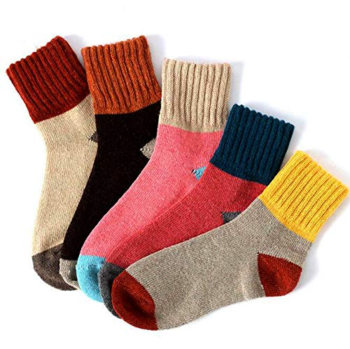Yshare Women's Super Thick Crew Soft Wool Winter Comfortable Warm Socks (Pack of 5), One Size (5-9), Multicolor ()