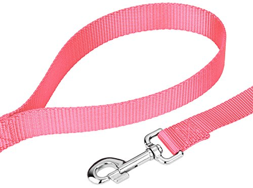 Image of Country Brook Petz | Vibrant 21 Color Selection | Nylon Dog Leash (Pink, 1 inch width, 4 Foot)