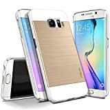 Galaxy S6 Edge Case, OBLIQ [Slim Meta][White/Gold] Thin Bumper Fit Armor Scratch Resist Metallic Finish Dual Layered Heavy Duty Hard Protection Hybrid Case (for Samsung Galaxy S6 Edge)