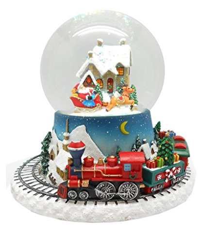 Lightahead Musical Christmas Santa on his Sleigh Figurine Water ball Snow Globe with the Inside Figurine And Outside Train Revolving in Polyresin - Santa Wind Up Musical Figurine