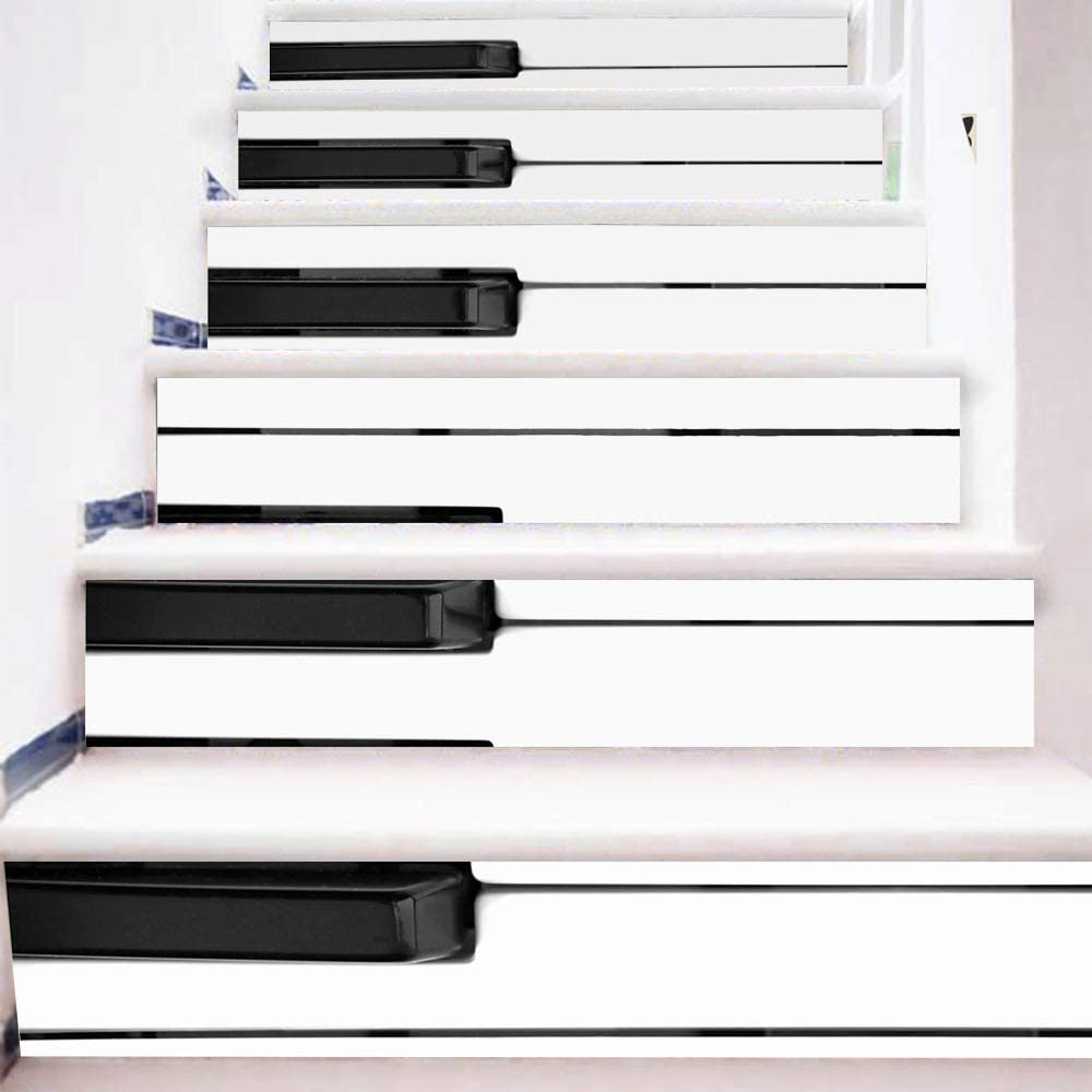 Etiqueta engomada de la escalera Pelar y pegar Azulejo Backsplash Escalera elevador Calcomanías DIY Azulejo Calcomanías Tecla del piano A Prueba de agua Decoración del hogar Escalera Calcomanía Escale: Amazon.es: Hogar