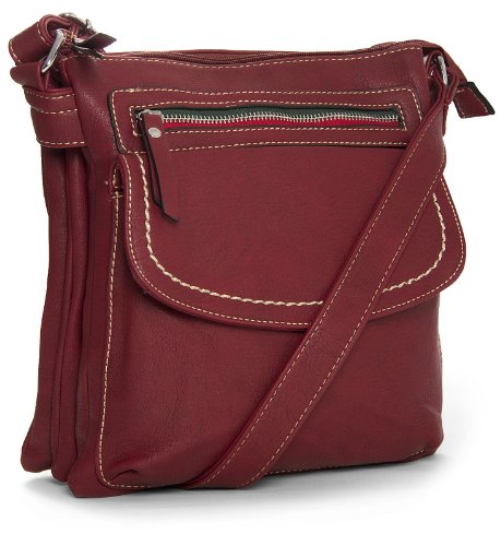 Big Handbag Body Bag Womens Messenger Shoulder Shop Cross Vegan Red Medium Multipocket Leather Deep rrUR6