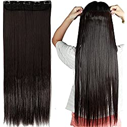 """S-noilite 30""""/29"""" Straight Curly 3/4 Full Head One Piece 5clips Clip in Hair Extensions Long Poplar Style for Xmas Gifts 22colors (30"""" - Straight, dark brown)"""