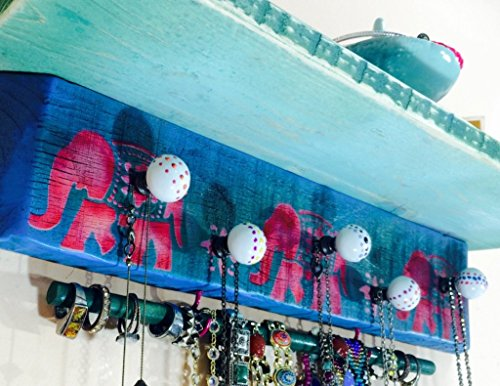 Reclaimed wood floating wall shelves /colorful accent shelving recycled pallet wood shelf stenciled elephants 2 hooks 5 knobs 12