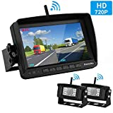 Emmako Digital Wireless Dual Backup Camera High-Speed Observation System For Truck/Trailer/RV 7'' Monitor Split Screen Kit IP69K Waterproof Night Vision Rear/Side/Front View Camera Driving/Reversing
