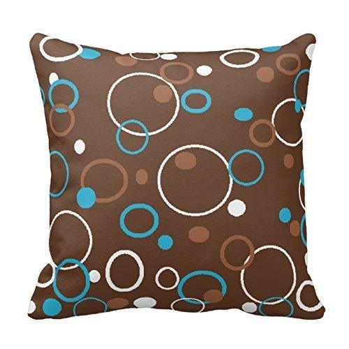 Brown Turquoise And White Circles Pillow Cover Cotton 18 x