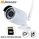Jennov 720P Wifi Wireless Security Cameras Outdoor Waterproof Cctv Bullet IP Network Camera With Built-in 16G MicroSD Card Day Night Vision Mobilephone Remote View