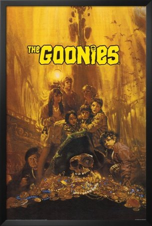 Professionally Framed Goonies Movie Group Poster Print 80s - 24x36 with RichAndFramous Black Wood Frame