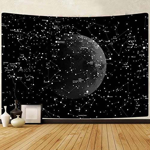 PANDAYAQ Moon Constellations Tapestry Wall Hanging Space Astrology Tapestry Black and White Tapestry for Bedroom Living Room