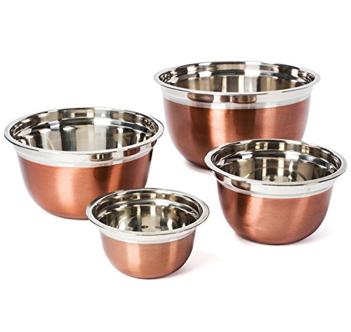Colleta Home Stainless Steel Mixing Bowls Set - Stackable Nesting Bowls - Polished Matte Finish - Cookware ()