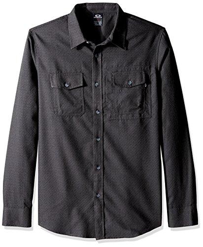 Woven T-shirt (Oakley Men's Adobe Woven, Jet Black Heather,)