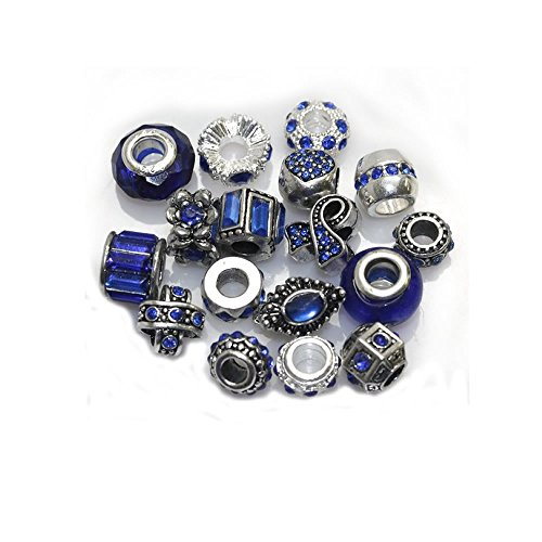 - Ten Assorted Shades of Blue Rhinestone Color Beads Charms Spacers