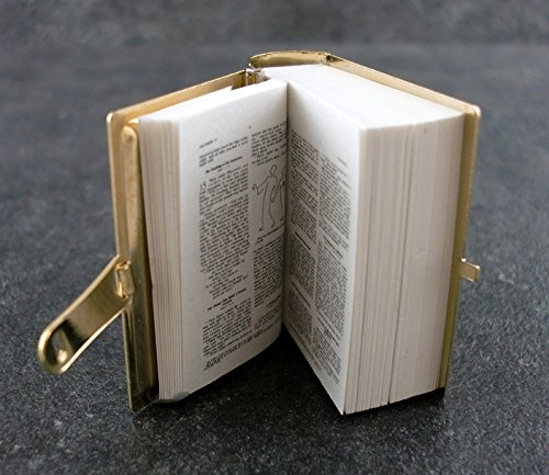 Miniature Bible - Melody Jane Dolls Houses House 1:12 Miniature Church Accessory Bible Metal Binding Printed Pages