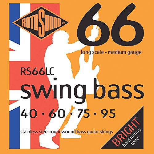 Rotosound RS66LC Swing Bass 66 Stainless Steel Bass Guitar Strings ((40 60 75 95) Rotosound Swing Bass