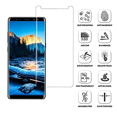 Galaxy Note 8 Screen Protector,Bestele Full Coverage/Edge-to-Edge/0.3mm, 3D/9H Hardness/Easy Installation Tempered Glass Screen for Samsung Galaxy Note 8 [2017 Model]