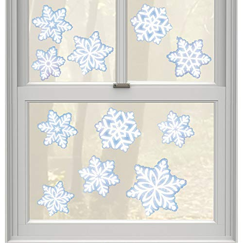 amscan Christmas Snowflake Window Decoration, 11 Ct. | Vinyl -
